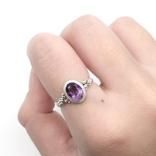 Amethyst 925 Sterling Silver Elegant Design Ring Nepal handmade mosaic production