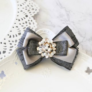 Iron grey elegant butterfly french clip