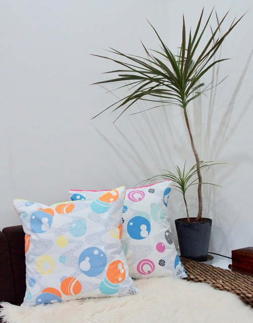 Cushion cover : Select from 5 patterns (fluorescent yellow piping)