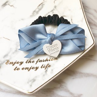 Elegant bow fine version large intestine ring / water blue