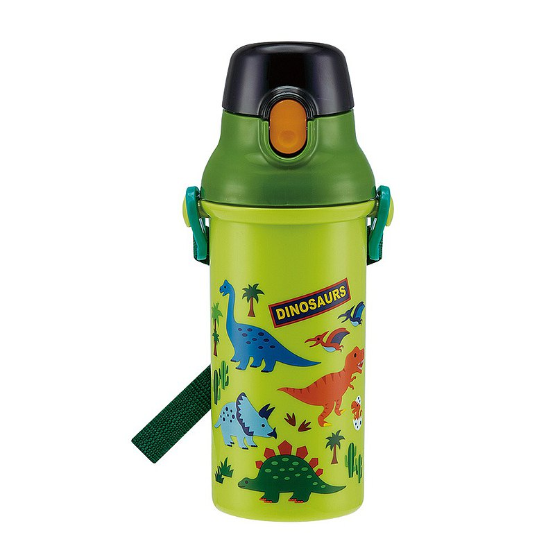 SKATER-Japan made silver ion direct drink cold water bottle 480mL-green dinosaur (silver ion antibacterial)