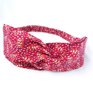 Red feather pattern handmade hair band