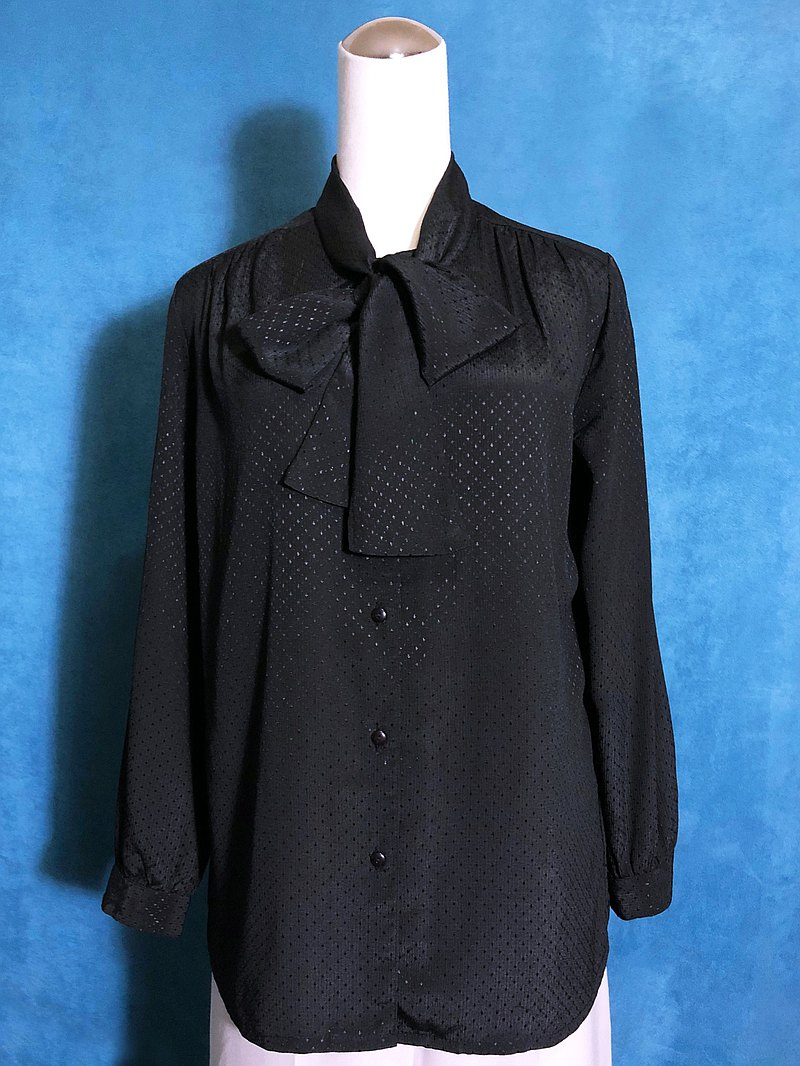 Dotted textured bow tie long-sleeved vintage shirt / bring back VINTAGE abroad