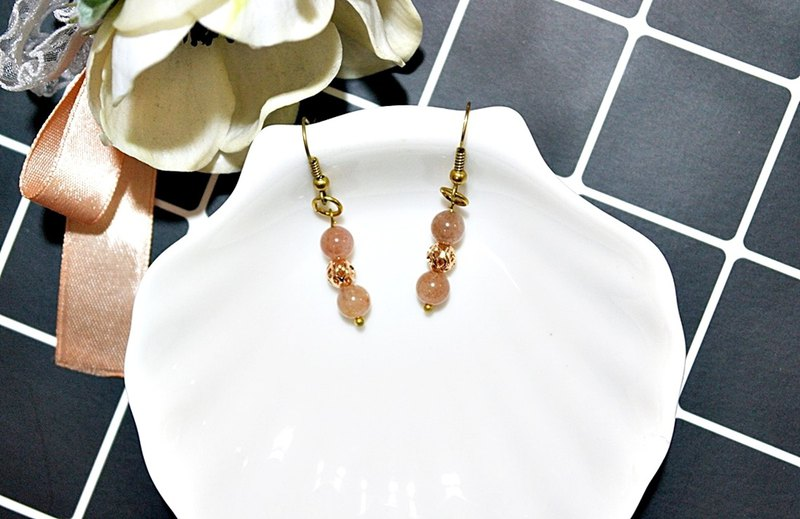 Brass X Natural <Pink Age>-Hook Earrings