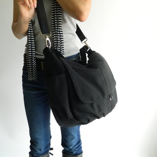 Canvas Messenger bag ,black Shoulder bag , Travel bag , diaper bag -no.18 DANIEL