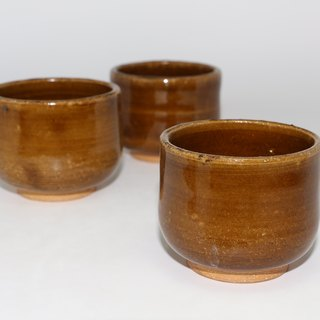 Brown ceramic cups--handmade--handmade--casting--glazed - Clay