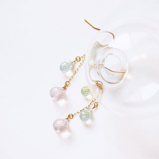 Lime pink bubble mink earrings natural gemstone sea blue treasure powder crystal grape stone 14K temperament