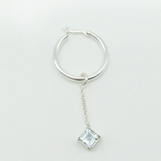 Sterling Silver Square Aquamarine Earring(Only One)