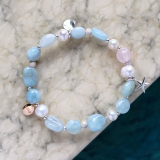 Sea love. Pink crystal natural aquamarine natural pearl 925 sterling silver bracelet 24K gold pure copper