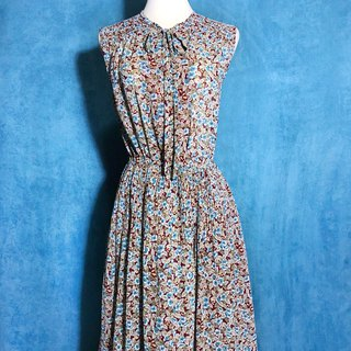 Flower shoulder chiffon sleeveless vintage dress / Bring Back VINTAGE abroad