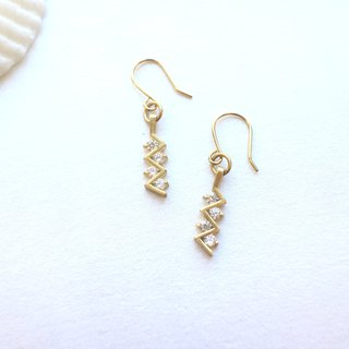 Meteor-Brass zircon earrings