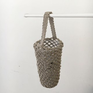Bottled woven mesh bag / khaki