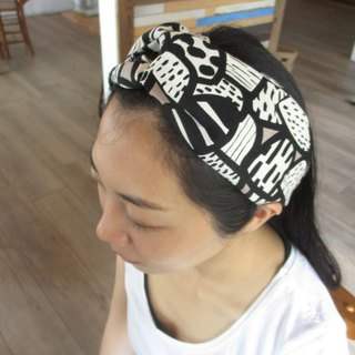 Cross hair band (elastic handwork) - abstract mushroom
