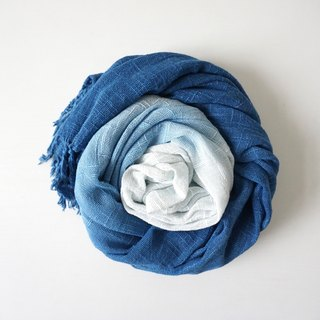 S.A x Ocean/ Ink Painting, Indigo dyed Handmade Pure Cotton Scarf