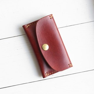 Rustic coffee red hand dyed yak leather handmade business card holder