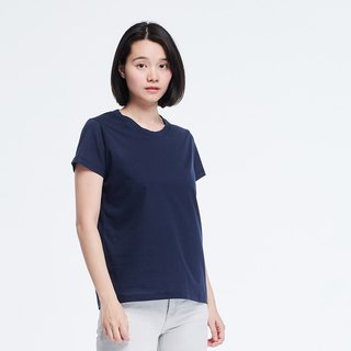 Mercerized Cotton Fabric Short Sleeves crew neck T-shirt Top Navy