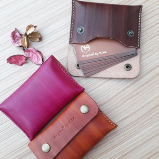 Business card holder / coin purse (large capacity) │Italian vegetable tanned leather hand dyed color can be branded (10 words)
