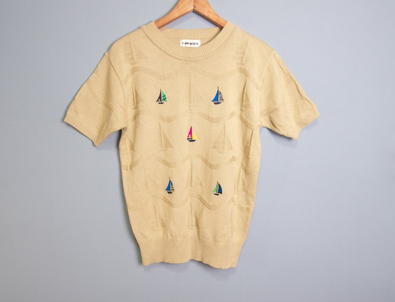 FOAK Vintage Florida Sailing Embroidered Top
