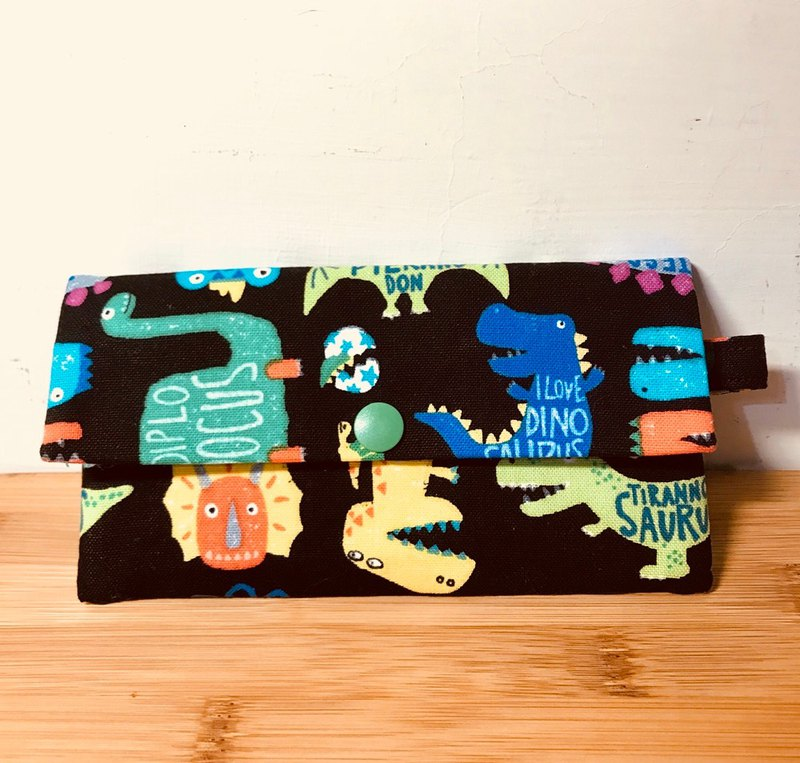 2018 ultra-eye-catching portable package ~ Meng dinosaur black cotton storage bag. Coin purse. Card holder. Wallet. Work identification card folder