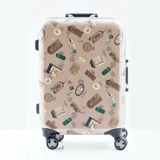 Postmark map printed card color system - handmade printed fashion aluminum frame 20 吋 suitcase / suitcase