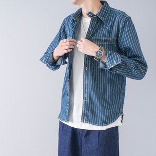 Daily matching American retro wash denim striped shirt tooling inside shirt denim shirt
