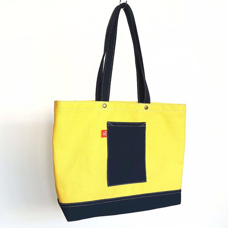 奶黃配寶藍帆布三袋日系袋/帆布包/托特包