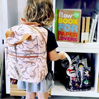 Petit Monkey, the Netherlands - environmentally friendly pink leopard imitation lizard young backpack - s
