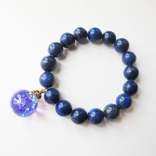 * Rosy Garden * translucent purple glitter snowflake flow glass balls with big teeth bright blue lapis lazuli bracelet bracelet