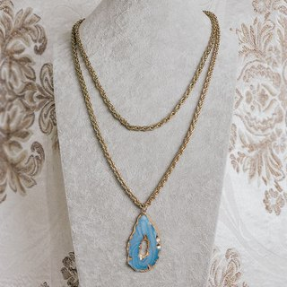 Phnom Penh Blue Imitation Road Stone Antique Long Necklace BMA120