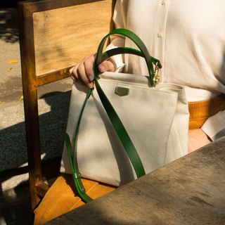 ADay leather combination cross-body bag / green - can be lettering