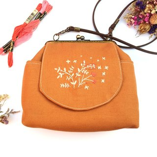 Embroidered flower shoulder back side exquisite gold bag