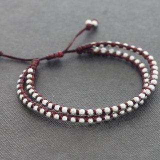 Marron Beaded Double Strand Adjustable Bracelet