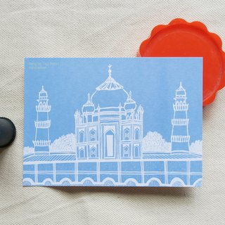 Travel landscape Bengal - Taj Mahal illustration postcard
