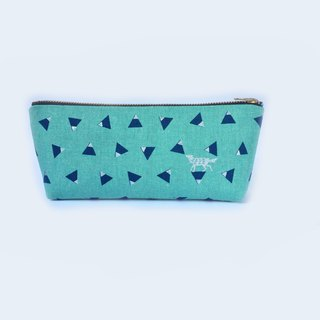 筆袋/化妝袋 Linen Pencil Case - Silver Wolf Blue Triangle