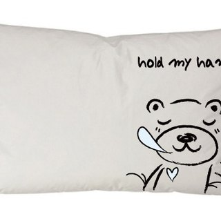 """Foufou"" pillow cover (single-entry) - Sleeping Bear holding hands (gray / white)."