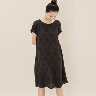 BUFU circle linen dress in black  D170501