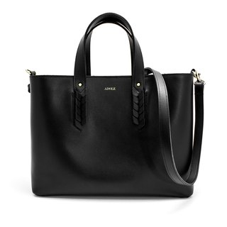 【ADOLE】 Laurel weave - leather tote bag - black