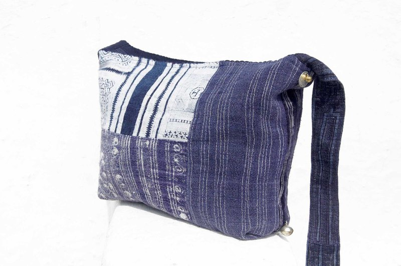 Birthday gift Mother's Day gift Valentine's Day gift handmade limited edition a natural cotton storage bag / ethnic wind oblique bag / plant dyeing indigo shoulder bag / side backpack - blue stained cloth ancient cloth hand stitching cotton plant d