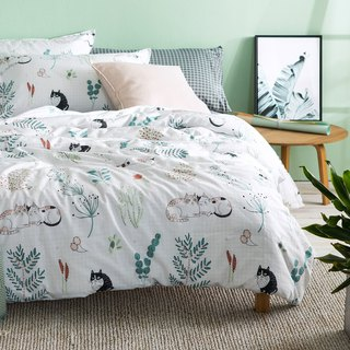 Grass 喵 pillowcase + quilt cover two sets of single double original hand-painted cat 40 cotton bed package optional