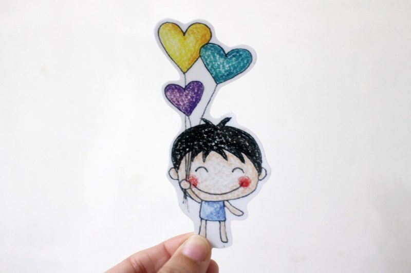Waterproof sticker (large)_boy balloon
