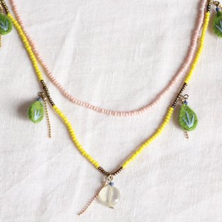 Pinapple necklace - Green felt leaves with yellow and pink beads