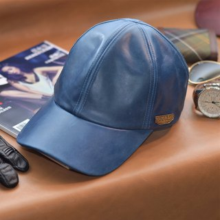 Leather Baseball Cap Oil Wax Cow Leather Layer Leather Hat Blue/Brown Old Hat