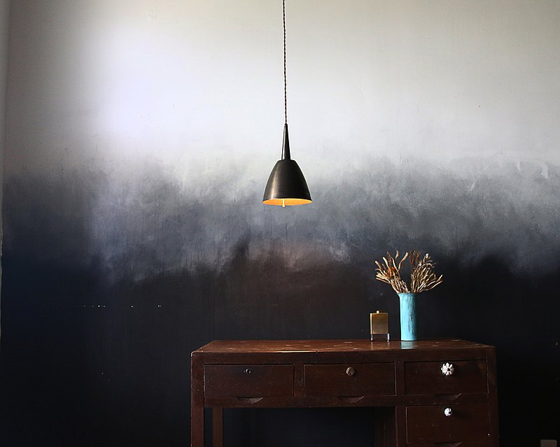 Brass lampshade BLS05B dyed black grindstone