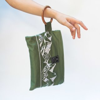 Hand embroidered bag mountain