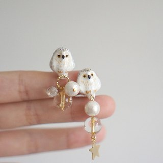 [Unicorn forest clan] painted dream snow owl a pair of ear / ear clip