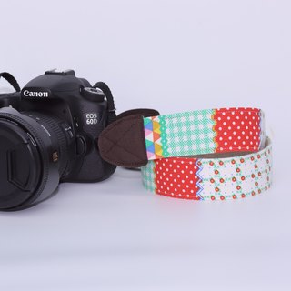 Pu.sozo cloth hand-made color palette (green) camera strap / camera rope / single eye / class