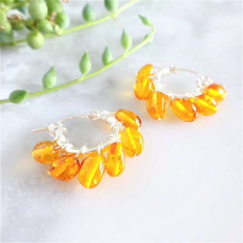 SV925SF*Baltic Amber wrapped pierced earring/earring