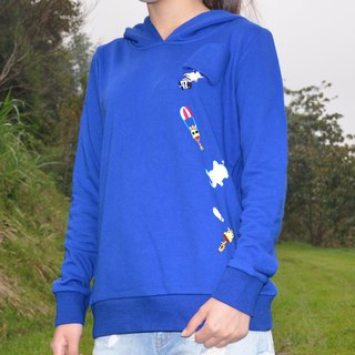 Left Chest Pocket With Animals Embroidered and Print Hoodie-Blue/Grey/Black