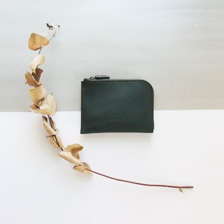 Classic L zipper accompanying short clip - Pine Green - Leather / Wallet / Fashion / Handmade / Practical / Color