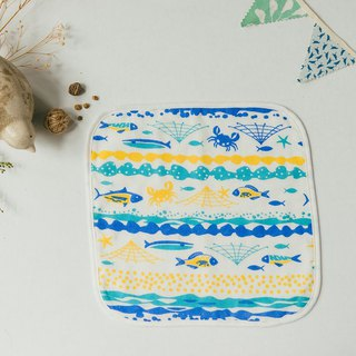 Baby Washcloth / Fish / Yellow, Blue
